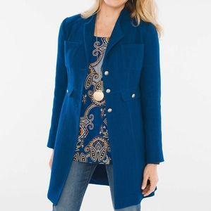 Modern Textured Topper Blue Jacket